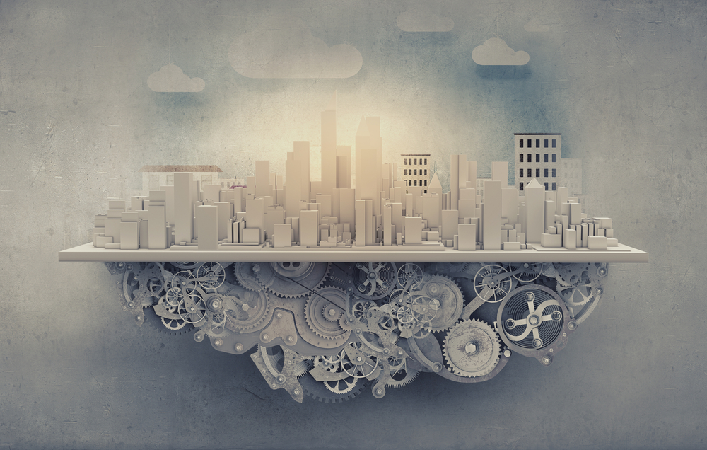 City construction model with cogwheel mechanism on grunge background